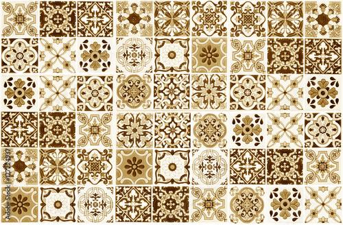 Colorful vintage ceramic tiles wall decoration.Turkish ceramic tiles ...