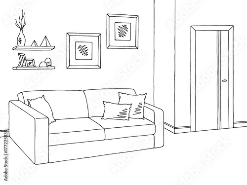 The Line Art And Living : Quot living room graphic black white interior sketch