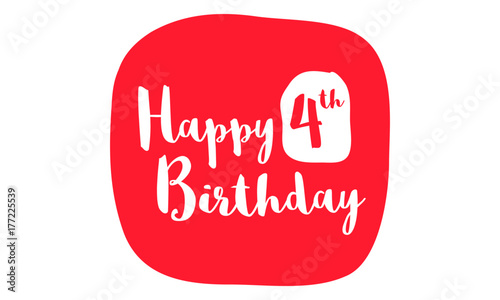 Happy 4th Birthday Card Brush Lettering Vector Design Stock Image