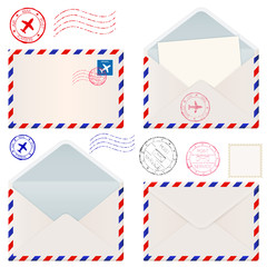 International mail envelope. Open and closed