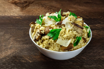Overhead photo of mushroom risotto on rustic texture