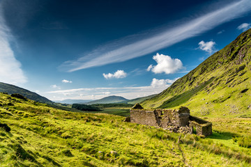 Canvas Prints Hill The ruins of an old isolated house or farm in the green hills of Kerry, Ireland