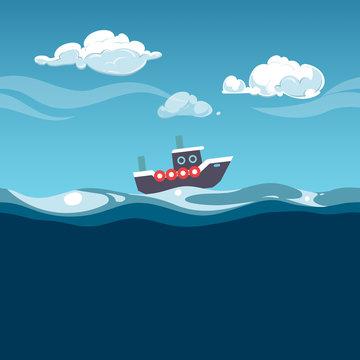 Sea illustration. Steam boat on the waves