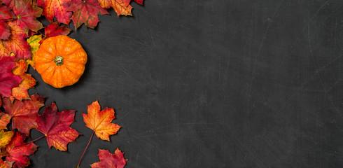 Herbstlaub mit Kürbis auf einem dunklen Hintergrund