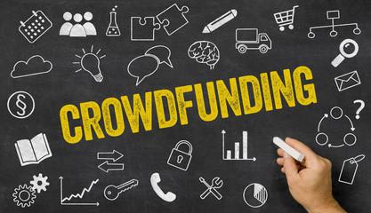 Tafel mit Icons und Text - Crowdfunding