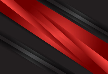 Red and Black abstract layer geometric material design background