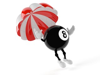 Eight ball character with parachute