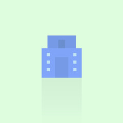building icon on blue background