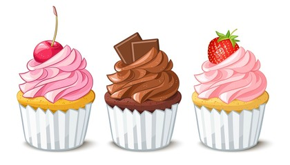 Hand drawn vanilla cupcakes with cherry, strawberry and chocolate on top, cartoon colorful food sketches, isolated on white background. Vector set  illustration.