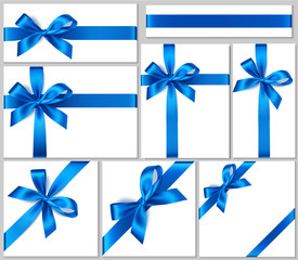 Set of realistic white gift box with blue bow and ribbon for gift decor. Holiday decorations. Vector illustration