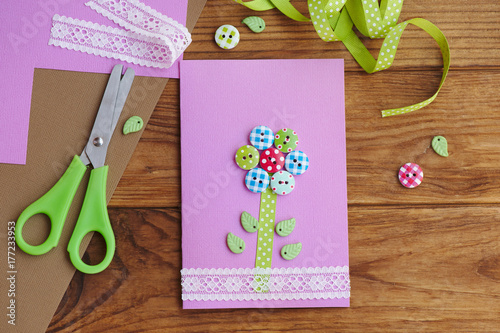 Beautiful Greeting Card On A Wooden Table Paper For Moms Birthday Or Mothers