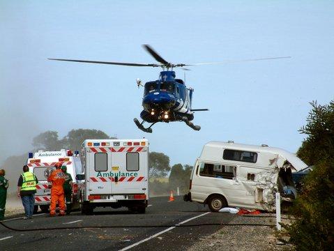 Emergency Helicopter Response Car Crash