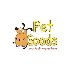 Vector logo template for pet shop,  veterinary clinic. Creative idea for animal feed. Illustration of a well-fed dog. EPS10.