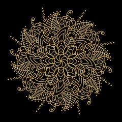 Golden vector pattern on black background. Pattern Vector flower Mandala. Design elements. Oriental circle pattern, Islam, Arabic, Indian, Floral mandala