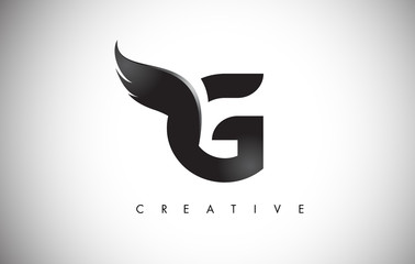 G Letter Wings Logo Design with Black Bird Fly Wing Icon.