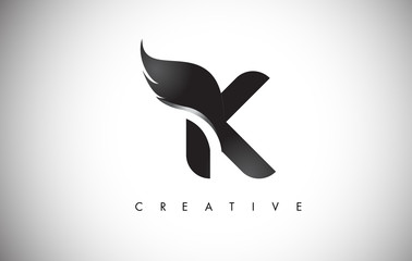 K Letter Wings Logo Design with Black Bird Fly Wing Icon.