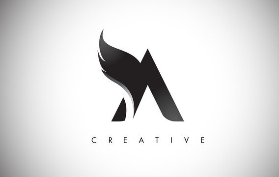 A Letter Wings Logo Design with Black Bird Fly Wing Icon.