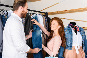 couple on shopping in boutique