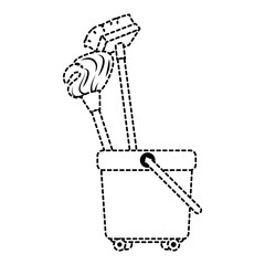 toilet trolley with broom and mop