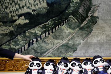 A man arranges Panda soft toys during a session of the Sichuan province on the second day of the 19th National Congress of the Communist Party of China at the Great Hall of the People in Beijing