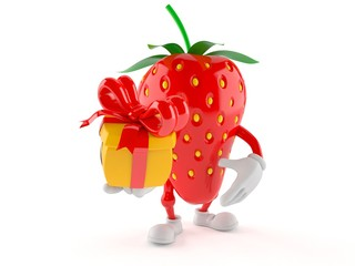 Strawberry character holding gift