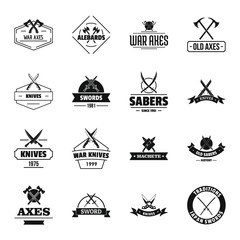Steel arms logo icons set, simple style