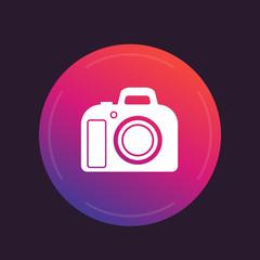 DSLR camera icon, vector pictogram