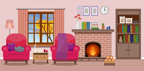 Cozy Living room interior with a fireplace and two chairs, window autumn view. Vector illustration in flat style, design template