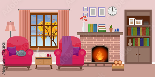 Evening cozy interior of living room, rain outside the window, cat ...
