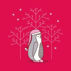 christmas penguin tree snowflake festive traditional vector illustration