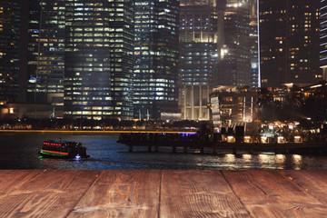 Fotoväggar - Table on night city background