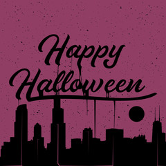 Happy Halloween dripping sign with city silhouette. Vector illustration.
