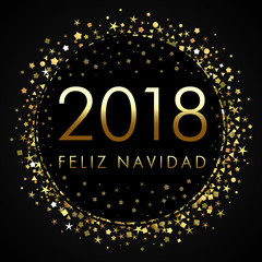2018 Feliz Navidad on black label with golden glitter confetti. Spanish Merry Christmas Feliz Navidad greeting card with 2018 calligraphy lettering and gold glitter. Vector illustration