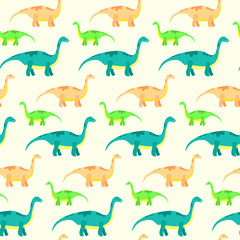 Vector seamless pattern with cute diplodocus. Kids texture with funny dinosaurs for textile, wrapping paper, background, cards, party banners, baby shower, children room wallpaper decoration