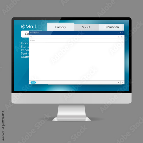 computer mail screen template stock image and royalty free vector