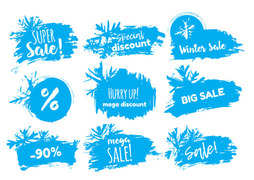 Winter sale banner with stains and snowflakes. Season clearence discount stamp