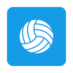 Icono plano pelota voleibol en cuadrado azul