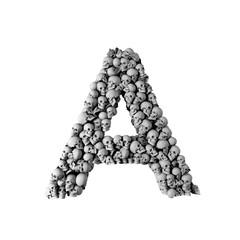 Skull font letter A. Letter made from lots of skulls. 3D Rendering