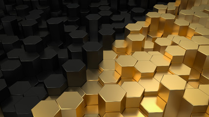 Abstract hexagonal geometric background. Structure of lots metal hexagons. Shiny honeycomb pattern. Creative geometric elements. Digital concept of oil and gold. 3d rendering