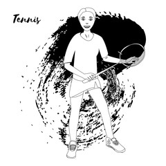 Tennis player. Vector isolate. Black and white sample. Page for coloring book.
