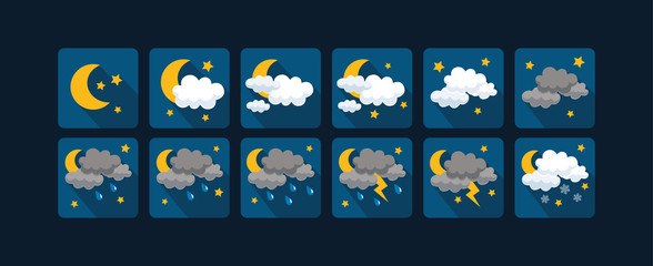 Weather vector icons  flat design - Set3