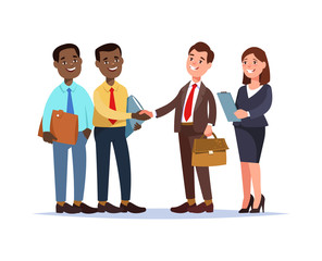 Vector illustration african business team contracts with partners cartoon style. Meeting colleagues