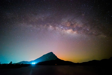 Night landscape mountain with milky way galaxy in background, Lam-Isu Reservoir, Kanchanaburi, Thailand, long exposure, low light