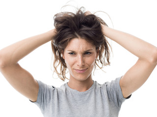 Angry woman having a bad hair day