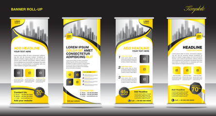 Roll up banner stand template, stand design,banner template, yellow banner, advertisement,vector