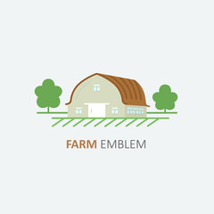 Vector logo design template of farm symbol in flat style - farmhouse. Country Concept.
