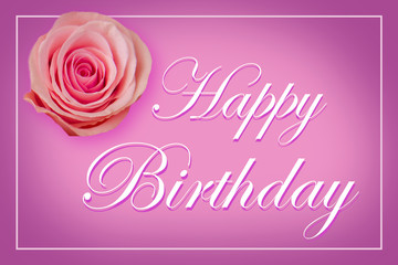 Happy Birthday Card with a single pink rose on purple pastel background