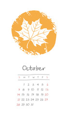 Calendar 2018 months October. Week starts Sunday