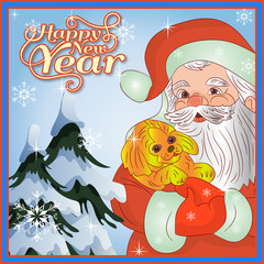 New Year card, Santa Claus in hands is wearing a yellow dog (symbol of the year 2018)