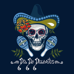 Dia De Muertos. Poster with skulls in hats with maracas, flowers with marigolds. Holiday of the Day of the Dead, Halloween. Lettering. Vector illustration.
